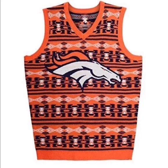 new product e4ce4 08ac7 Klew NFL Denver Broncos Ugly Sweater Vest XXL NWT